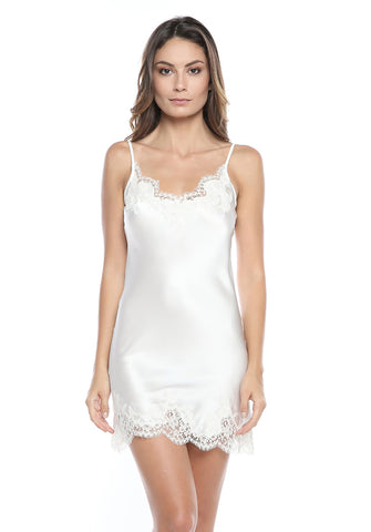Tendresse Short Silk Slip in Ivory