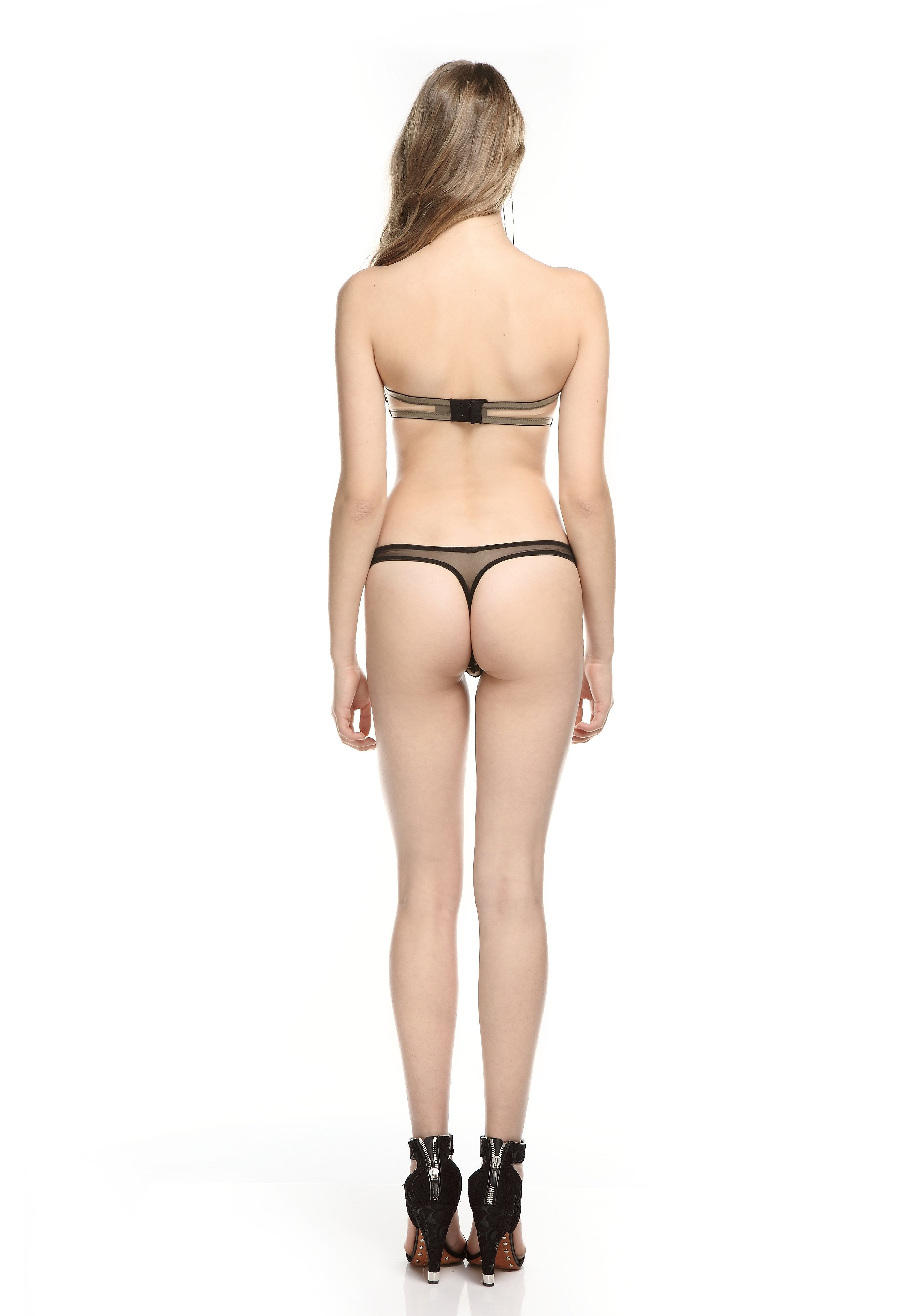 Fleur Interdit Thong in Skin/Black