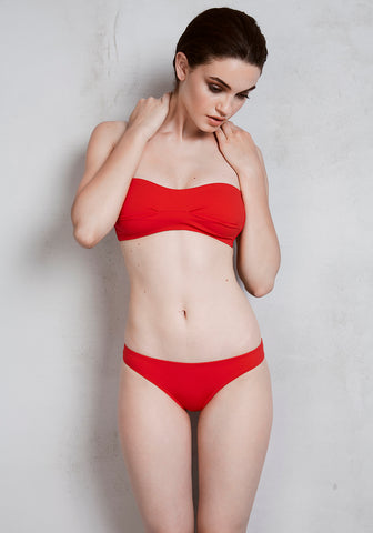 Voyage à St Tropez Racer Back Bikini Top in Red Orange