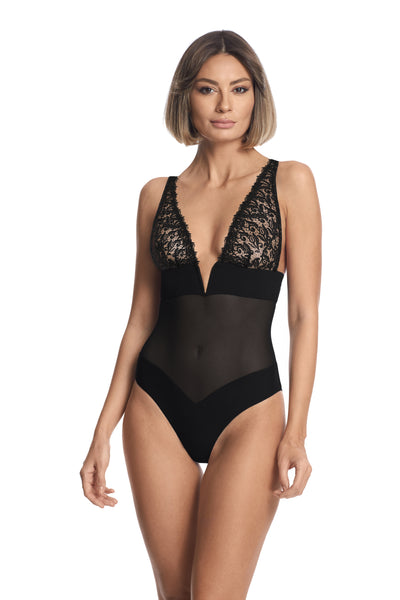 New York Nights Triangle Bodysuit in Black - I.D. Sarrieri