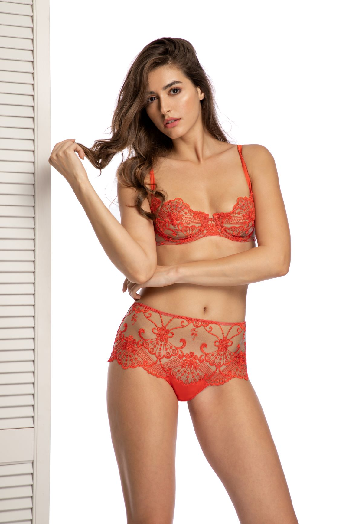 Something Special Balconette Bra in Red Coral - I.D. Sarrieri