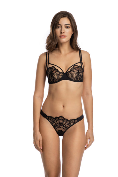 Rose Noir Half Cup Bra in Black - I.D. Sarrieri