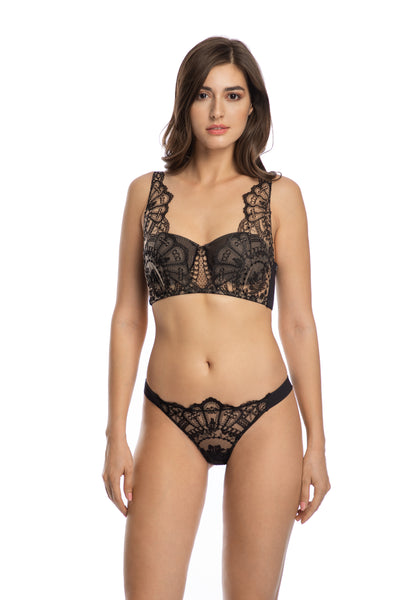 Rose Noir Padded Push-Up Bra Top in Black - I.D. Sarrieri