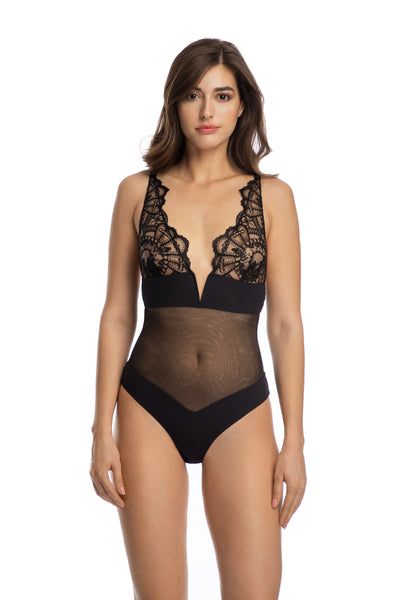 Rose Noir Bodysuit in Black - I.D. Sarrieri