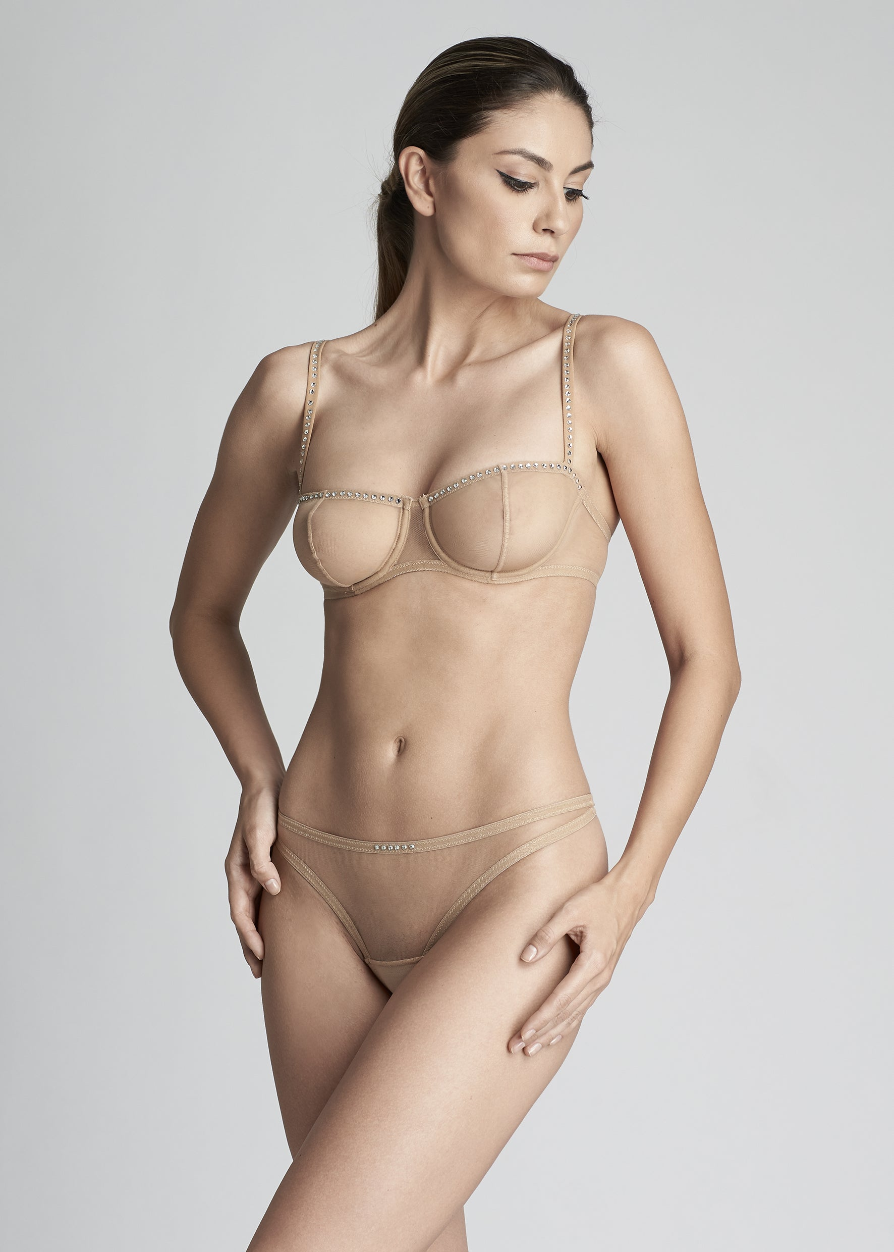 Nuit Interdit Thong with Swarovski Crystals in Nude - I.D. Sarrieri