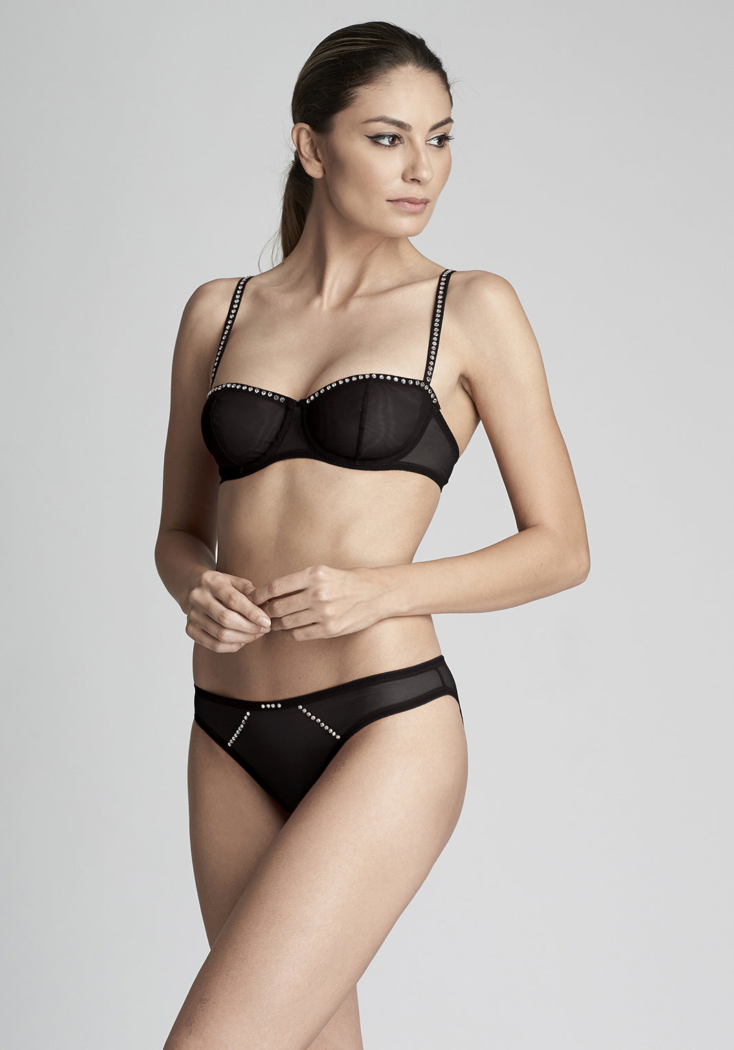 Nuit Interdit Brazilian brief with swarovski crystals in Black