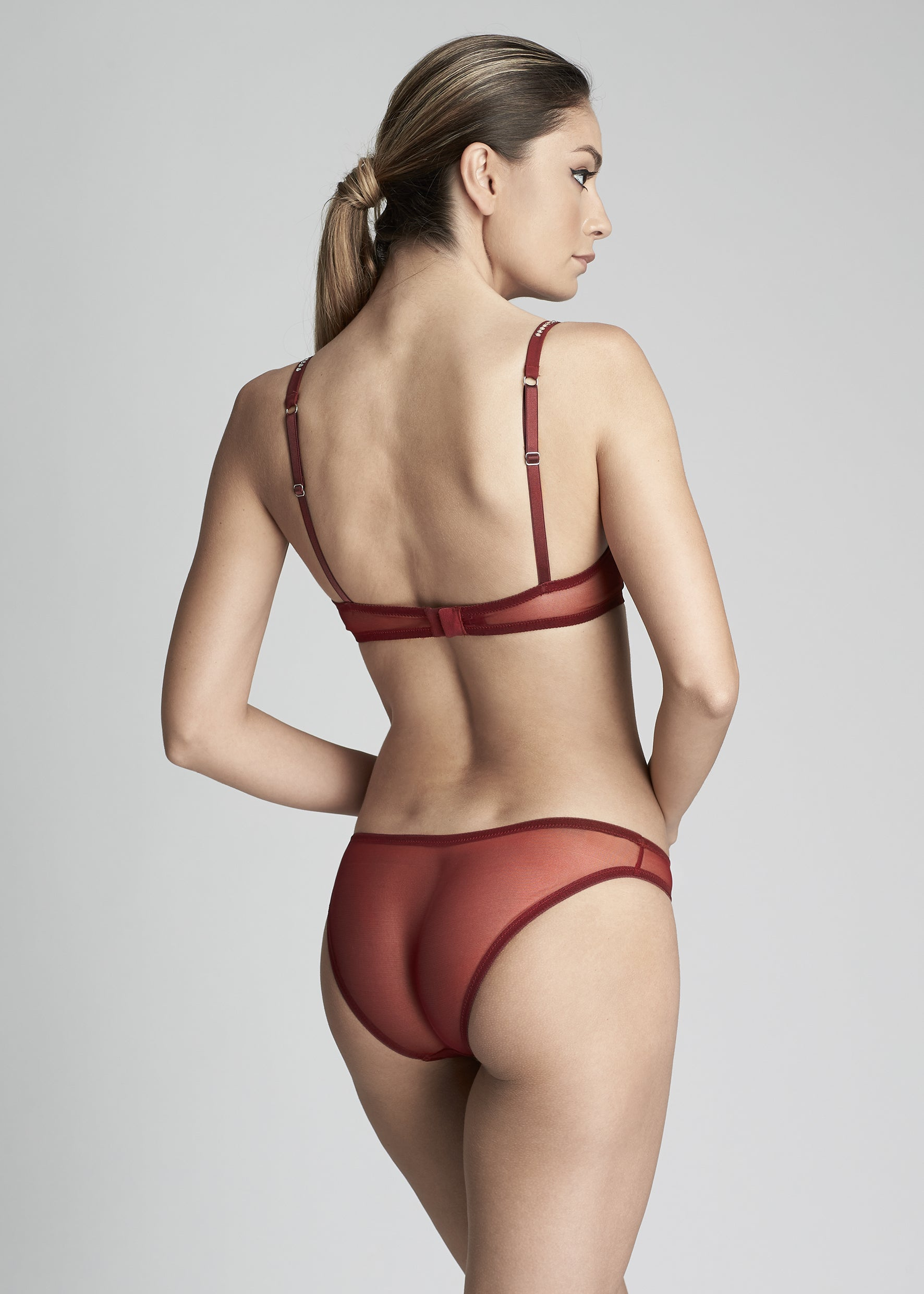 Nuit Interdit Low Waist Brazilian Brief in Ruby