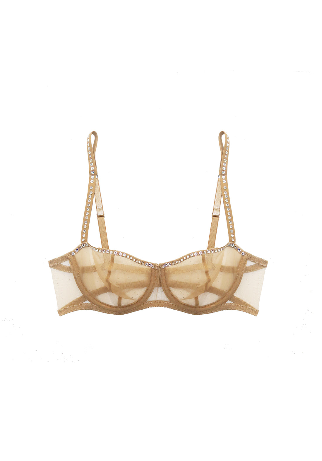 Nuit Interdit Balconette Bra with Swarovski Crystals in Nude - I.D. Sarrieri