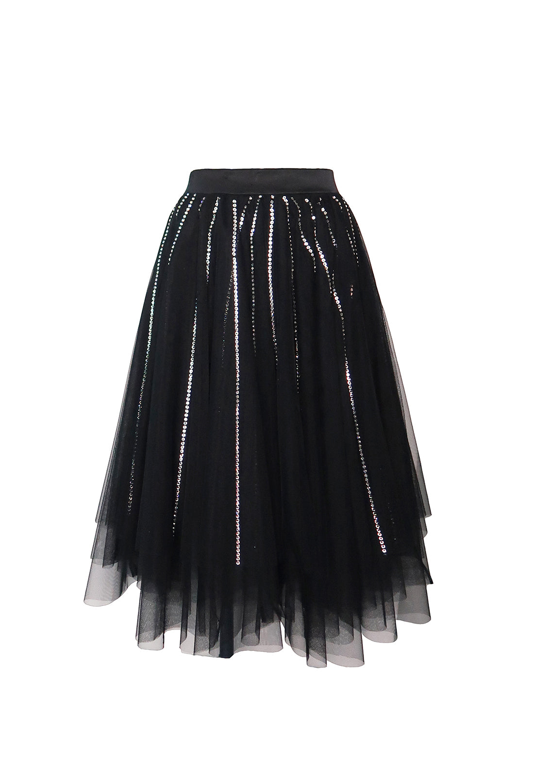 Nuit Interdit Midi Skirt in Fine Tulle with Swarovski Crystals in Black
