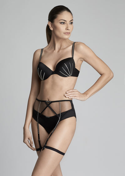 I.D. Sarrieri silk padded bra and suspender with Swarovski Crystals in black