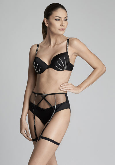 Nuit Interdit Padded Push Up Bra with Swarovski Crystals in Black - I.D. Sarrieri
