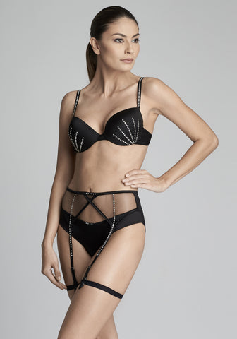 Nuit Interdit Triangle Cup Bra with Swarovski Crystals in Black