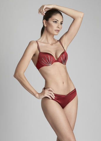 Nuit Interdit Padded Push up Bra in Ruby