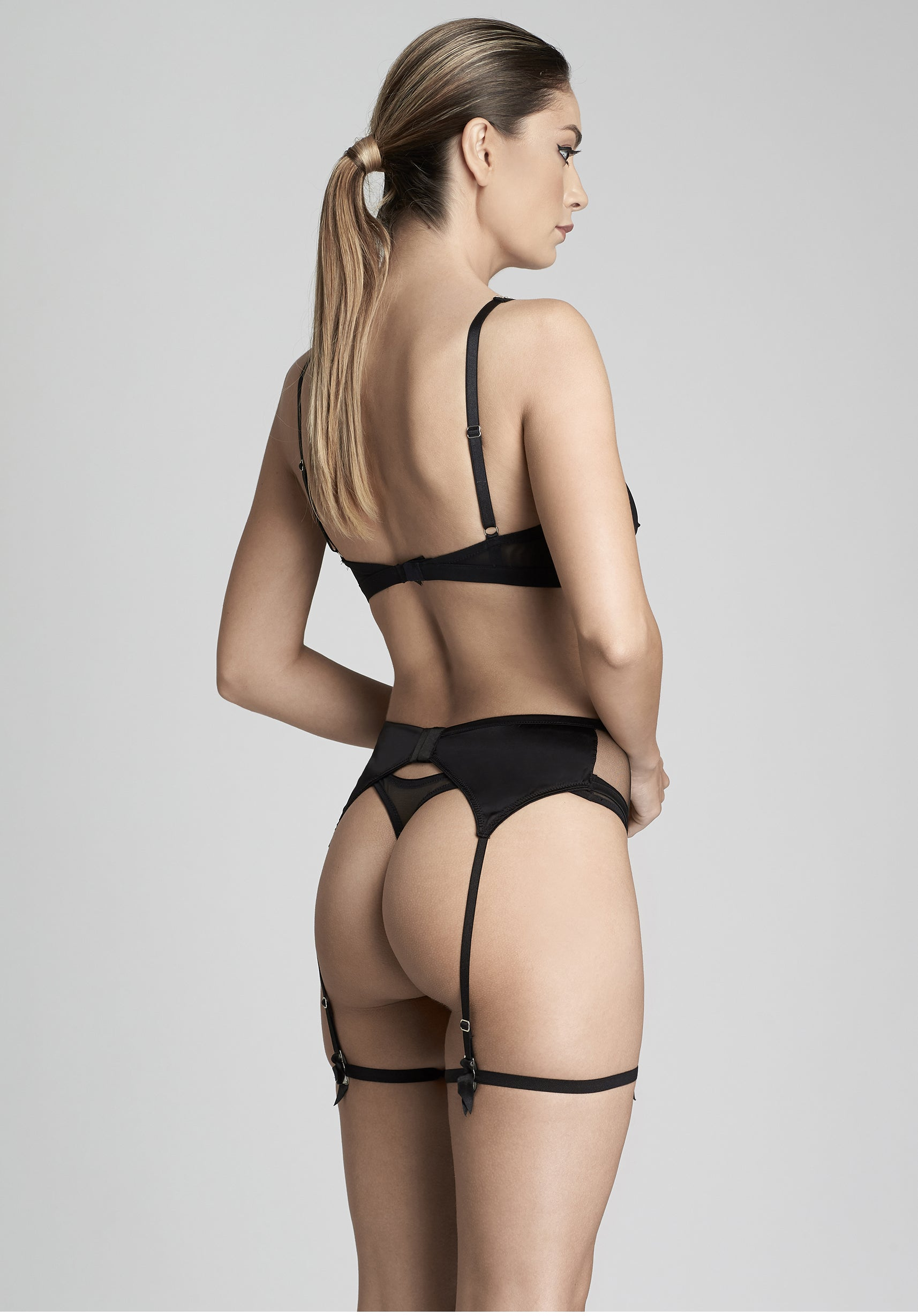 Nuit Interdit Thong with swarovski crystals in Black
