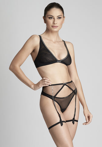 La Naissance d'Aphrodite High Waist Brief in Black/Black