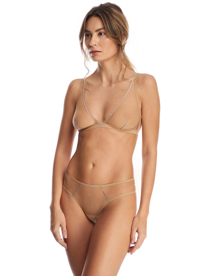 Nuit Interdit Triangle Bra with Swarovski Crystals in Nude - I.D. Sarrieri