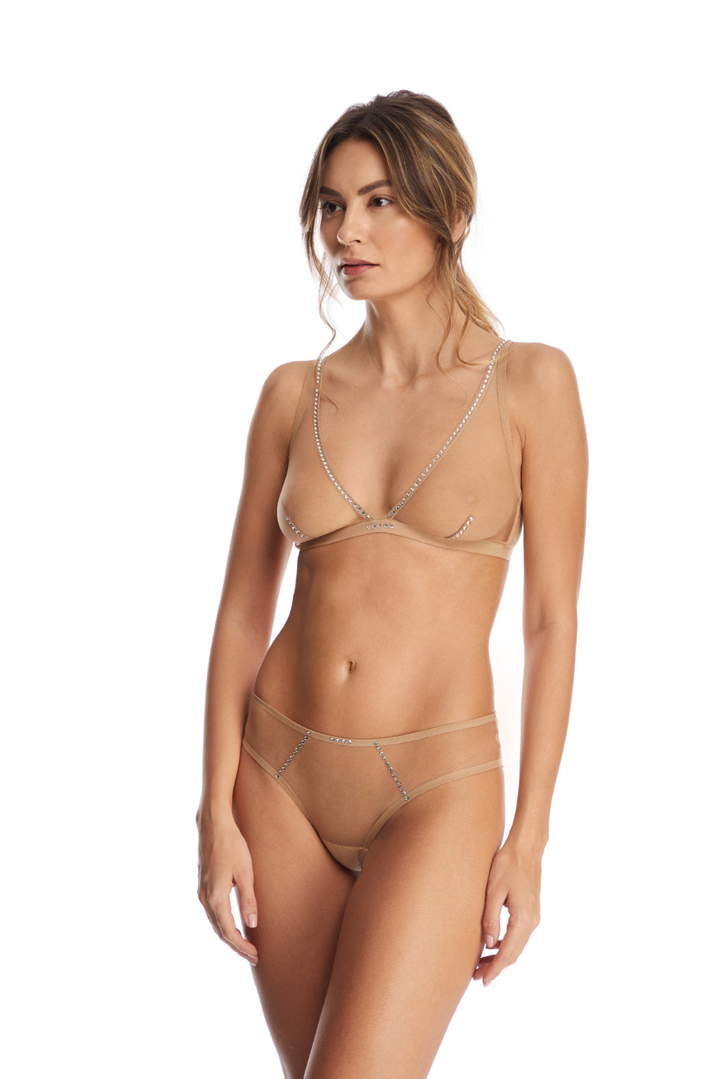 I.D. Sarrieri tulle triangle bra and brief with Swarovski Crystals in Nude