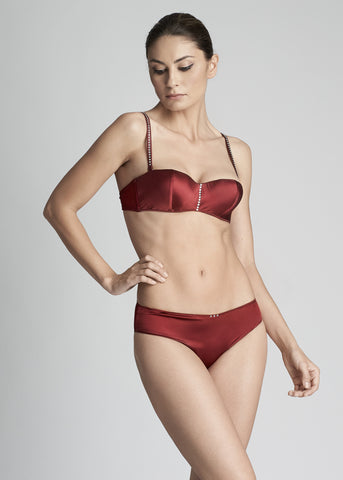 Wonderland Delights High Neck Padded Push-Up Bra in Earth Red