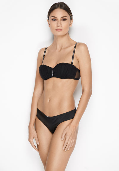 Nuit Interdit Padded Balconette Bra with Swarovski Crystals in Black - I.D. Sarrieri