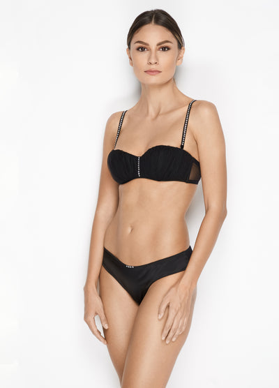 I.D. Sarrieri Balconette Bra with Swarovski Crystals in black