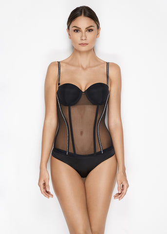 Madeleine Padded Push-Up Bustier in Black