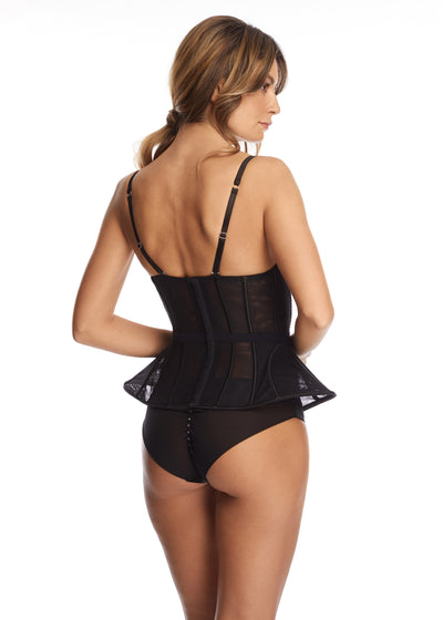 Nuit Interdit Peplum Corset with Swarovski Crystals in Black - I.D. Sarrieri