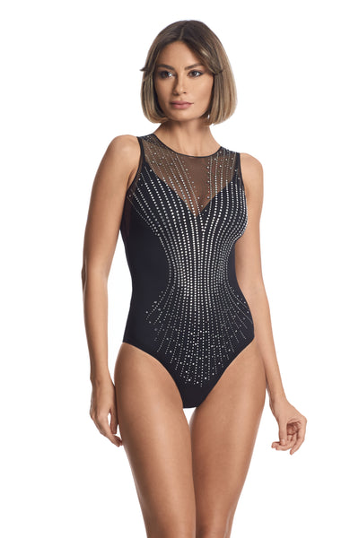Nuit Interdit Tulle Bodysuit with Swarovski Elements in Black - I.D. Sarrieri
