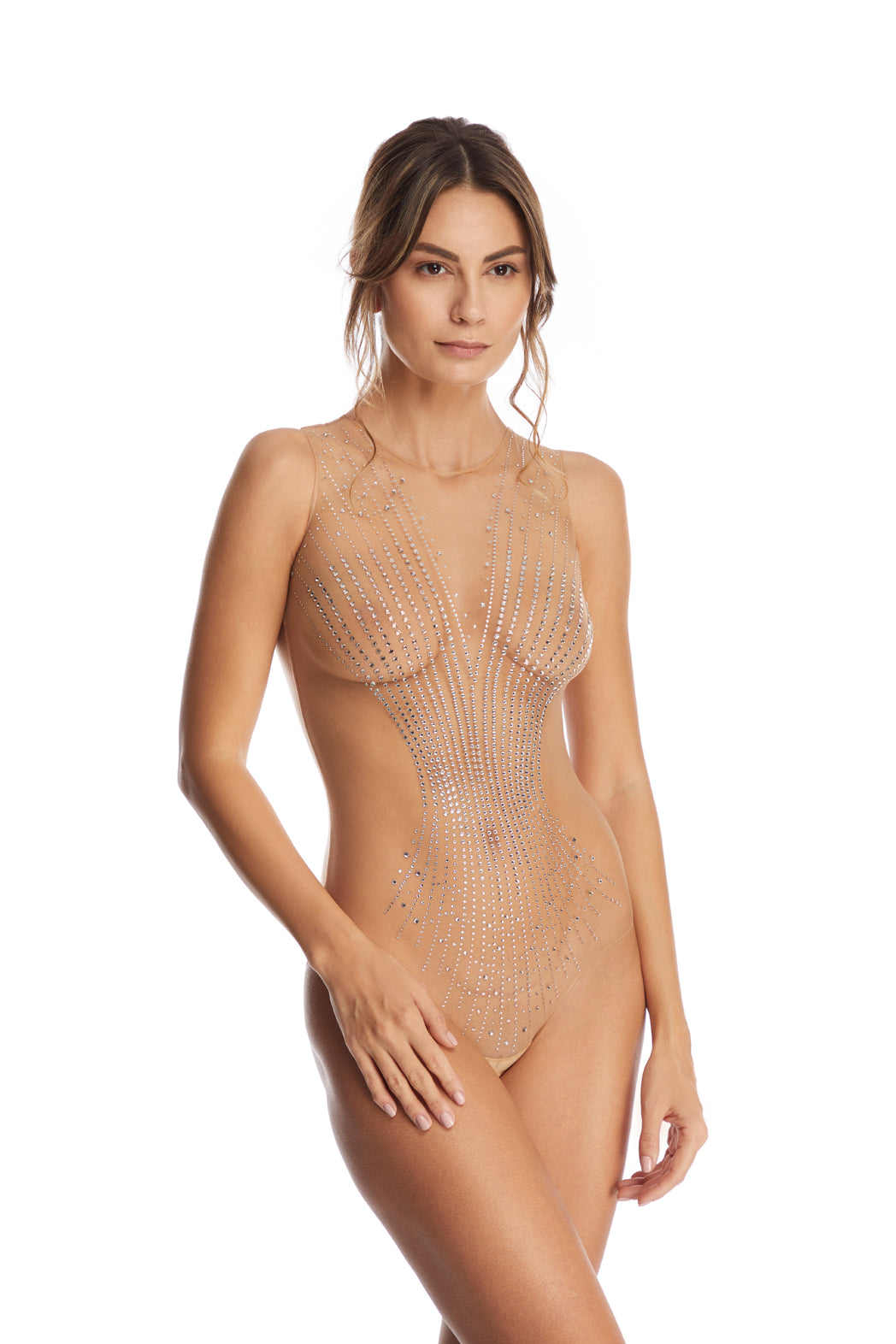 I.D. Sarrieri tulle bodysuit with Swarovski Crystals in Nude