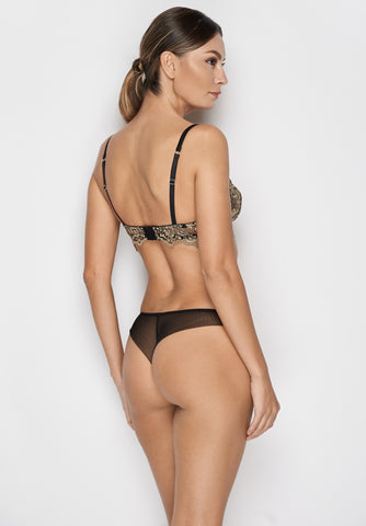 Le Désir Thong in Metallic Black