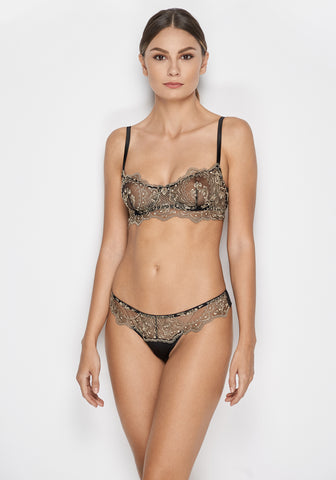 Le Désir Racerback Triangle Bra in Metallic Black