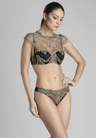 Le Désir High Neck Balconette Bra in Metallic Black