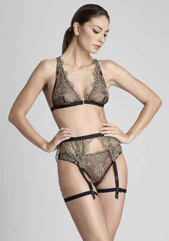 La Reveuse Thong in Smokey Green