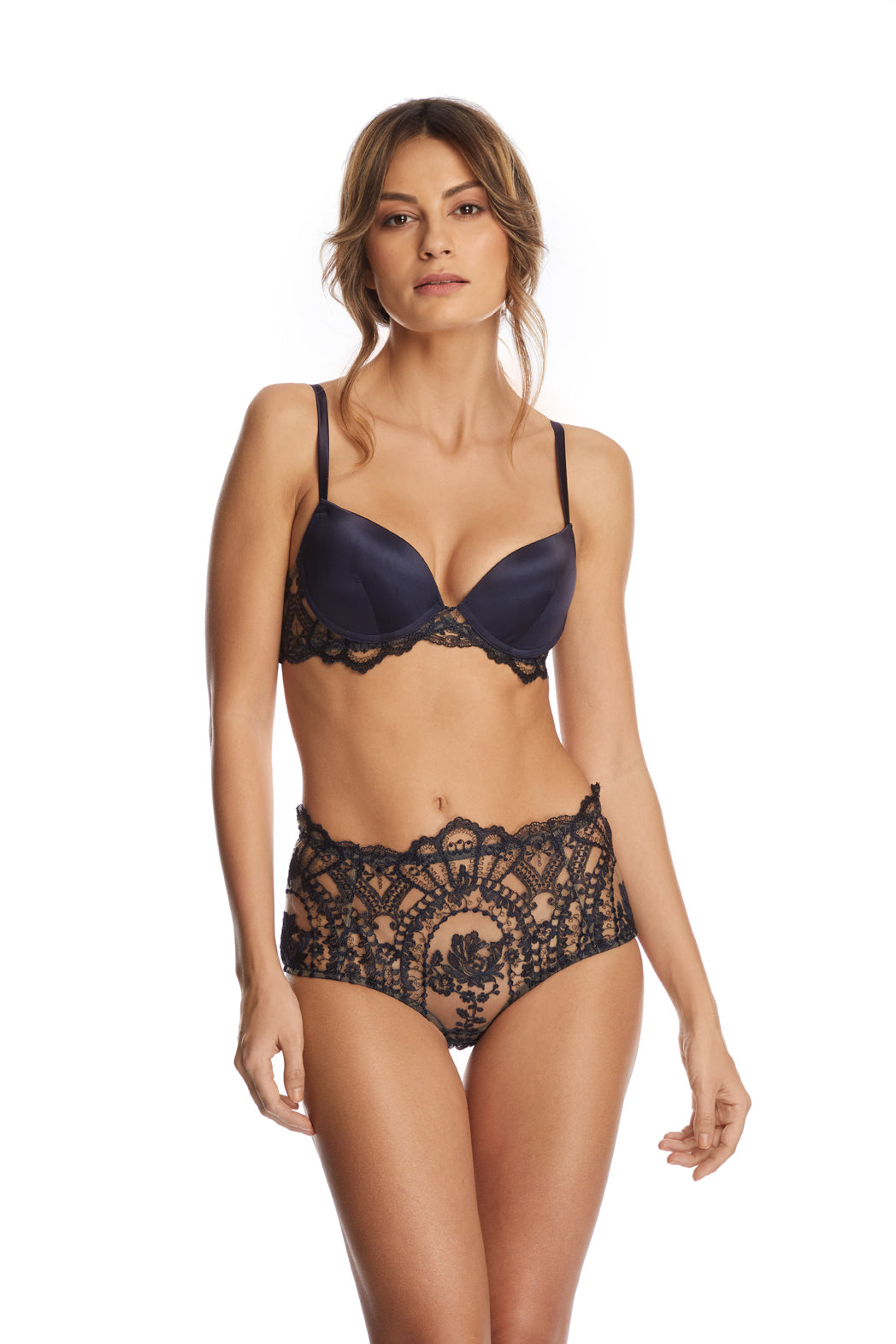 Desert Rose Mid Waist Briefs in Bleumarine - I.D. Sarrieri