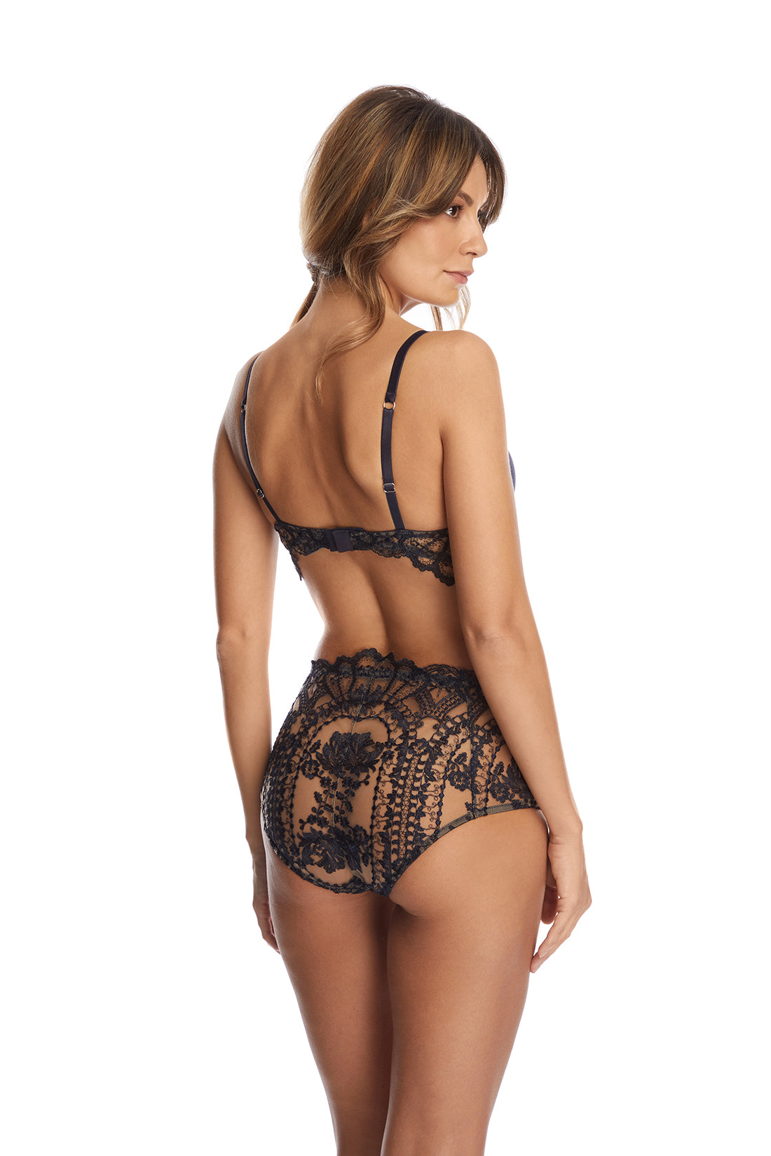 Desert Rose Mid Waist Briefs in Bleumarine