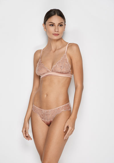 I.D. Sarrieri silk and lace rose thong