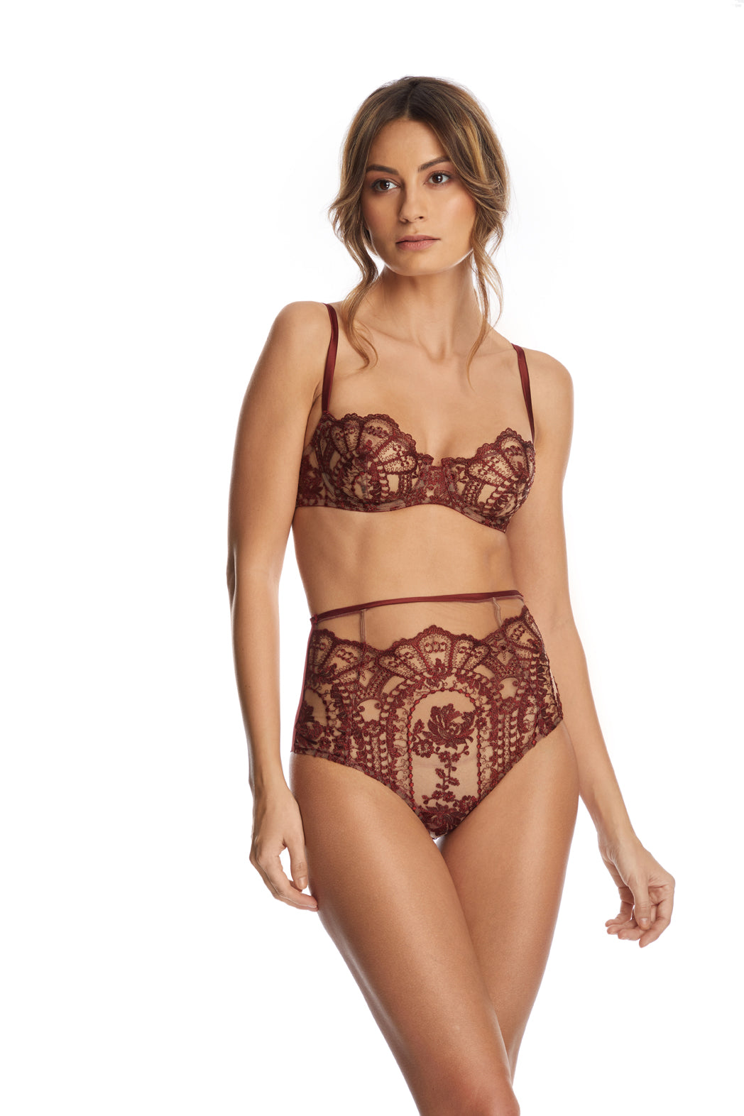Desert Rose Balconette Bra in Dark Copper - I.D. Sarrieri