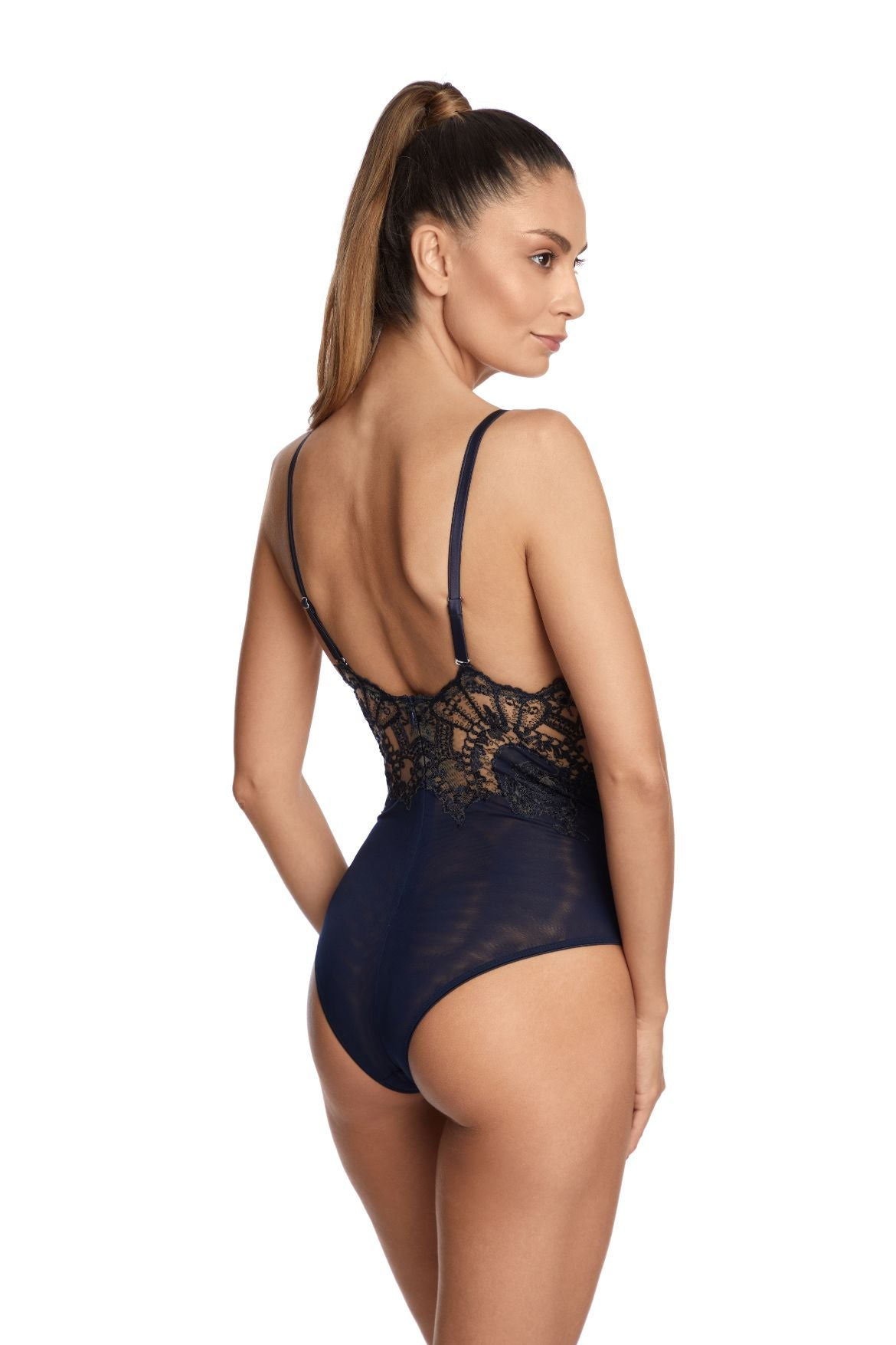 I.D. Sarrieri embroidered bodysuit in Bleumarine