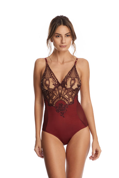 Desert Rose Bodysuit in Dark Copper - I.D. Sarrieri