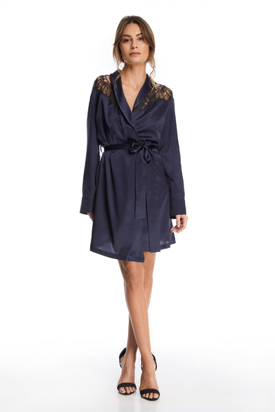 Desert Rose Short Robe in Bleumarine - I.D. Sarrieri