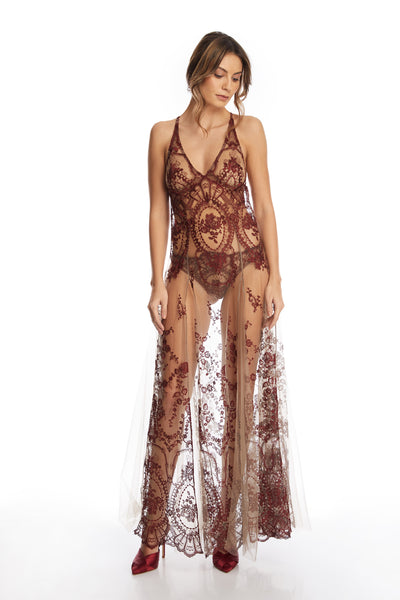 Desert Rose Long Dress in Dark Copper