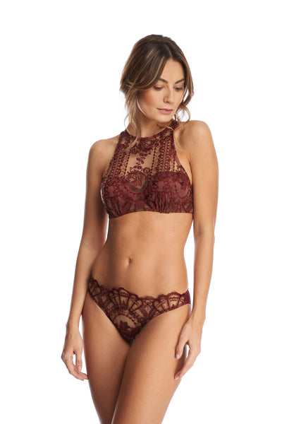 I.D. Sarrieri lace briefs in dark copper