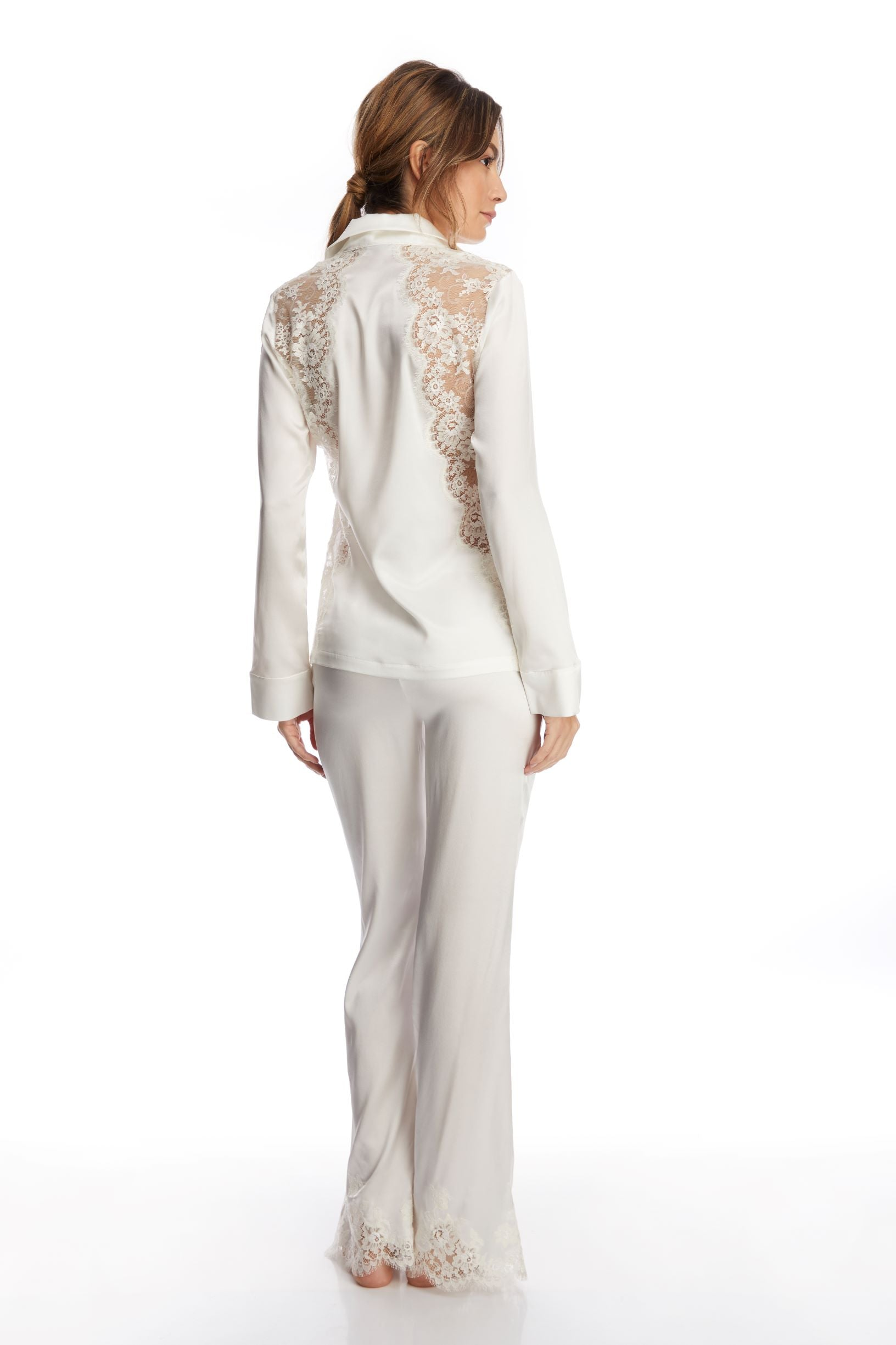 I.D. Sarrieri silk and lace ivory pants
