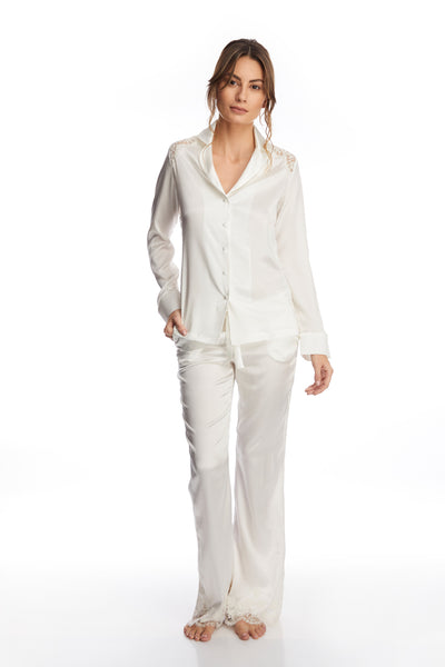 I.D. Sarrieri silk and lace ivory long pyjama pants
