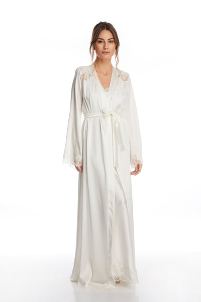 I.D. Sarrieri silk and lace ivory long robe