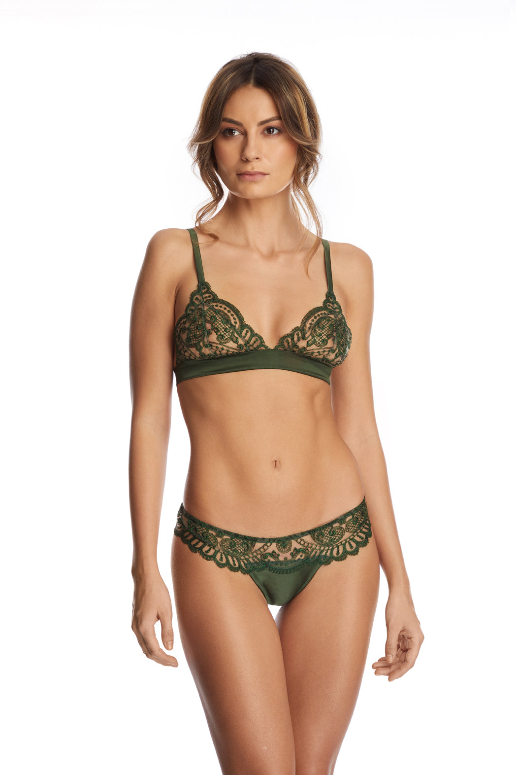 I.D. Sarrieri embroidered tulle and silk triangle bra in Dark Green