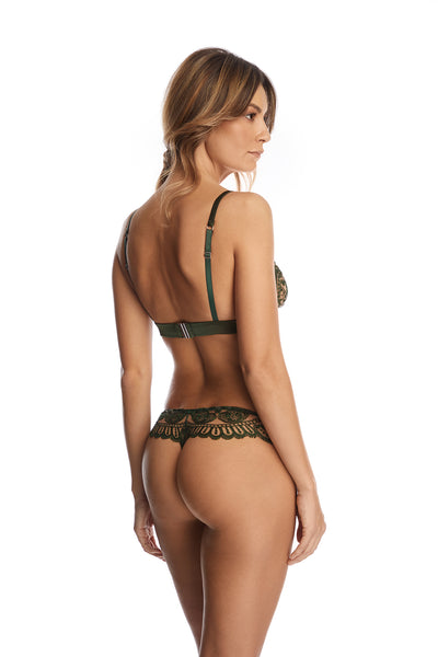 Bohemian Sundays Thong in Dark Green