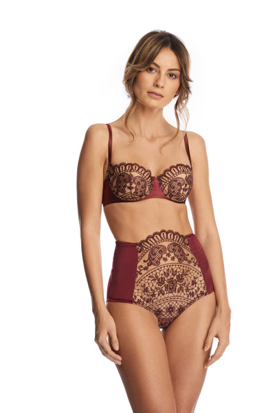 I.D. Sarrieri embroidered tulle and silk high waist brief in burgundy