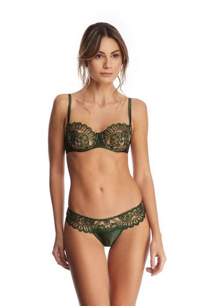 Bohemian Sundays Balconette Bra in Dark Green - I.D. Sarrieri