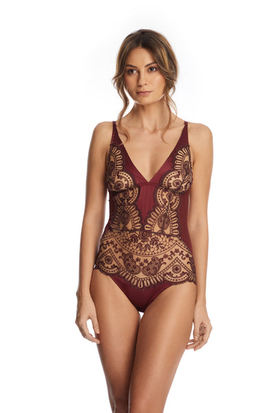 I.D. Sarrieri Bodysuit in Burgundy