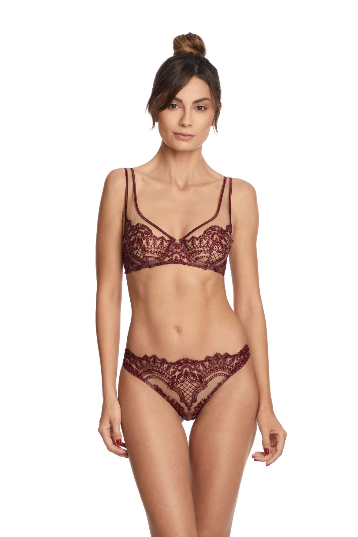 I.D. Sarrieri embroidered tulle and silk bordeaux underwired full cup bra and brief